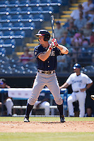 Stephen Gaylor (15) of the Rome Braves at bat against the Asheville Tourists at McCormick Field on July 26, 2015 in Asheville, North Carolina.  The Tourists defeated the Braves 16-4.  (Brian Westerholt/Four Seam Images)