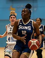 Janice Monakana of Sevenoaks Suns drives up to the basket during the WBBL Championship match between Sevenoaks Suns and Newcastle Eagles at Surrey Sports Park, Guildford, England on 20 March 2021. Photo by Liam McAvoy