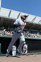 Detroit Tigers outfielder Daniel Fields (29) is introduced before a Spring Training game against the Baltimore Orioles on March 4, 2015 at Ed Smith Stadium in Sarasota, Florida.  Detroit defeated Baltimore 5-4.  (Mike Janes/Four Seam Images)