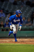 Rancho Cucamonga Quakes right fielder Saige Jenco (9) hustles down the first base line during a California League game against the Stockton Ports at Banner Island Ballpark on May 16, 2018 in Stockton, California. Rancho Cucamonga defeated Stockton 6-3. (Zachary Lucy/Four Seam Images)