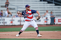 Quad Cities River Bandits third baseman Colton Shaver (37) throws to second base during a game against the West Michigan Whitecaps on July 23, 2018 at Modern Woodmen Park in Davenport, Iowa.  Quad Cities defeated West Michigan 7-4.  (Mike Janes/Four Seam Images)