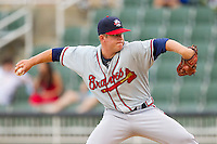 Rome Braves relief pitcher John Cornely #19 in action against the Kannapolis Intimidators at CMC-Northeast Stadium on August 5, 2012 in Kannapolis, North Carolina.  The Intimidators defeated the Braves 9-1.  (Brian Westerholt/Four Seam Images)