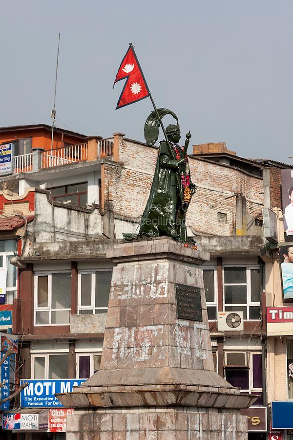 Nepal, Kathmandu.  King Mahendra Statue, Durbar Marg Roundabout.