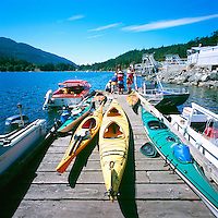 Fulford Harbour, Saltspring (Salt Spring) Island, Southern Gulf Islands, BC, British Columbia, Canada - Kayaks on Dock