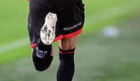 A close up of the Nicholsons logo on the back of the Lincoln City shorts<br /> <br /> Photographer Chris Vaughan/CameraSport<br /> <br /> The EFL Sky Bet League One - Fleetwood Town v Lincoln City - Saturday 17th October 2020 - Highbury Stadium - Fleetwood<br /> <br /> World Copyright © 2020 CameraSport. All rights reserved. 43 Linden Ave. Countesthorpe. Leicester. England. LE8 5PG - Tel: +44 (0) 116 277 4147 - admin@camerasport.com - www.camerasport.com