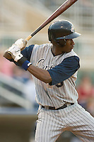 Abner Abreu #9 of the Lake County Captains at bat versus the Kannapolis Intimidators at Fieldcrest Cannon Stadium May 1, 2009 in Kannapolis, North Carolina. (Photo by Brian Westerholt / Four Seam Images)