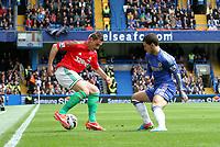 Pictured: Angel Rangel turns Eden Hazard<br /> Barclays Premier League, Chelsea FC (blue) V Swansea City,<br /> 28/04/13