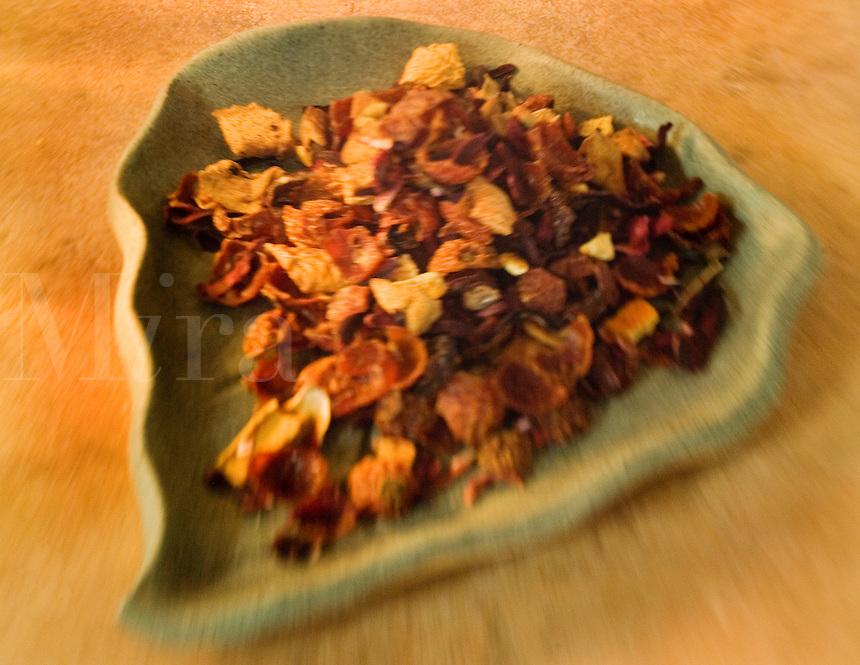 Passion Fruit Tea on a Green Leaf Shape Plate..