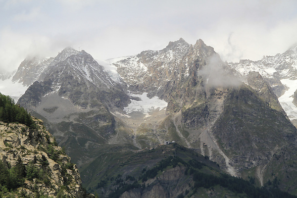 The Alps and Hellbrenner Point from Courmayeur, Italy.