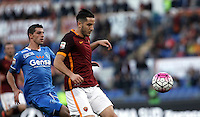 Calcio, Serie A: Roma vs Empoli. Roma, stadio Olimpico, 17 ottobre 2017.<br /> Roma's Kostas Manolas, right, is chased by Empoli's Manuel Pucciarelli during the Italian Serie A football match between Roma and Empoli at Rome's Olympic stadium, 17 October 2015.<br /> UPDATE IMAGES PRESS/Isabella Bonotto