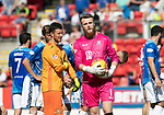 St Johnstone v East Fife…14.07.18…  McDiarmid Park    League Cup<br />East Fife keeper Brett Long and saints keeper Zander Clark before the pnelty shootout<br />Picture by Graeme Hart. <br />Copyright Perthshire Picture Agency<br />Tel: 01738 623350  Mobile: 07990 594431