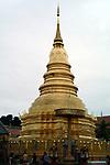 Central chedi at Wat Phra That Haripunchai in Lamphun,Thailand