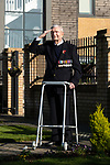 Pictured: 102 year old veteran Thomas Victor Hyom, who served in the Royal Navy pays his respects by saluting from the garden of Wellington Vale Care Home, where he is a resident in Waterlooville, Hants ahead of Remembrance Day this Sunday. <br /> <br /> With the government implementing a month long nation-wide lockdown in order to curb the spread of the coronavirus pandemic, Remembrance Day parades have been cancelled across the country, with people urged to stay at home and pay their respects.<br /> <br /> © Jordan Pettitt/Solent News & Photo Agency<br /> UK +44 (0) 2380 458800