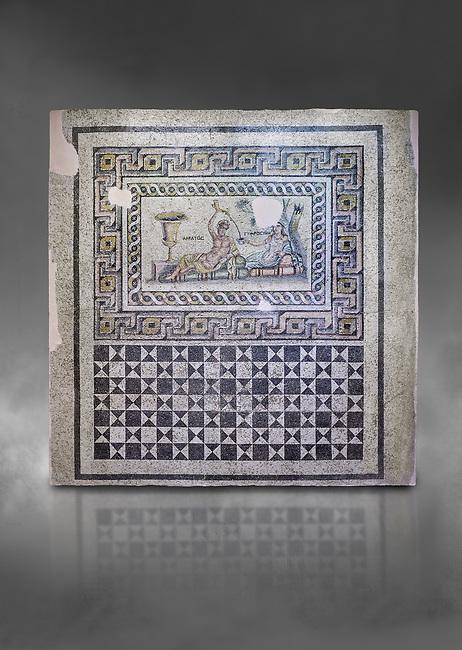 Roman mosaics. The Acratos & Eljprocvne Mosaic from The House of Maenad Zeugma.  2nd - 3rd century AD. Zeugma Mosaic Museum, Gaziantep, Turkey.  Against a grey background.