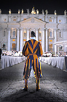 Pontifical Swiss Guard.The Corps of the Pontifical Swiss Guard or Swiss Guard,Guardia Svizzera Pontificia,responsible for the safety of the Pope, including the security of the Apostolic Palace. It serves as the de facto military of Vatican City..Pope Benedict XVI addresses some 70,000 youths of dioceses of Rome and Lazio in Saint Peter's square, at the Vatican, late 25 March 2010, during an event to mark the 25th anniversary of the first Youth World Day. .