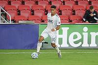 WASHINGTON, DC - AUGUST 25: Brandon Bye #15 of New England Revolution moves the ball during a game between New England Revolution and D.C. United at Audi Field on August 25, 2020 in Washington, DC.