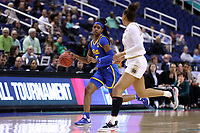 GREENSBORO, NC - MARCH 04: Amber Brown #5 of the University of Pittsburgh dribbles the ball during a game between Pitt and Notre Dame at Greensboro Coliseum on March 04, 2020 in Greensboro, North Carolina.