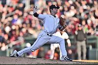 South Carolina pitcher Clarke Schmidt (6) delivers a pitch during a game against the Clemson Tigers at Fluor Field February 28, 2015 in Greenville, South Carolina. The Gamecocks defeated the Tigers 4-1. (Tony Farlow/Four Seam Images)