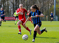Gwyneth Vanaenrode (3) of Standard and Angel Kerkhove (11) of Club Brugge in action during a female soccer game between Standard Femina de Liege and Club Brugge YLA on the 2nd matchday in play off 1 of the 2020 - 2021 season of Belgian Scooore Womens Super League , saturday 17 th of April 2021  in Angleur , Belgium . PHOTO SPORTPIX.BE | SPP | SEVIL OKTEM