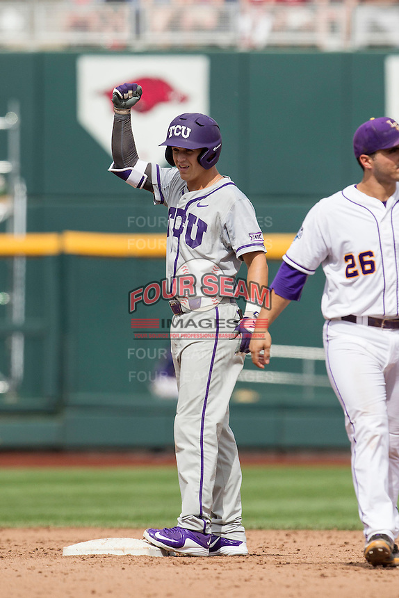 TCU Horned Frogs third baseman Derek Odell (5) celebrates after his RBI double against the LSU Tigers in the NCAA College World Series on June 14, 2015 at TD Ameritrade Park in Omaha, Nebraska. TCU defeated LSU 10-3. (Andrew Woolley/Four Seam Images)