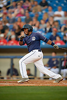 Lake County Captains first baseman Jose Vicente (36) follows through on a swing during the second game of a doubleheader against the West Michigan Whitecaps on August 6, 2017 at Classic Park in Eastlake, Ohio.  West Michigan defeated Lake County 9-0.  (Mike Janes/Four Seam Images)