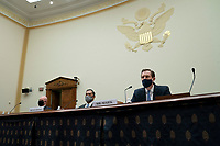 From left to right: R. Clarke Cooper, assistant secretary of state for political-military affairs at the United States Department of State, Brian Bulatao, under secretary of state for management at the U.S. Department of State, and Marik String, acting legal adviser at the U.S. Department of State, listen during a House Foreign Affairs Committee hearing in Washington, D.C., U.S., on Wednesday, Sept. 16, 2020. The hearing is investigating the firing of State Department Inspector General Steve Linick. <br /> Credit: Stefani Reynolds / Pool via CNP /MediaPunch