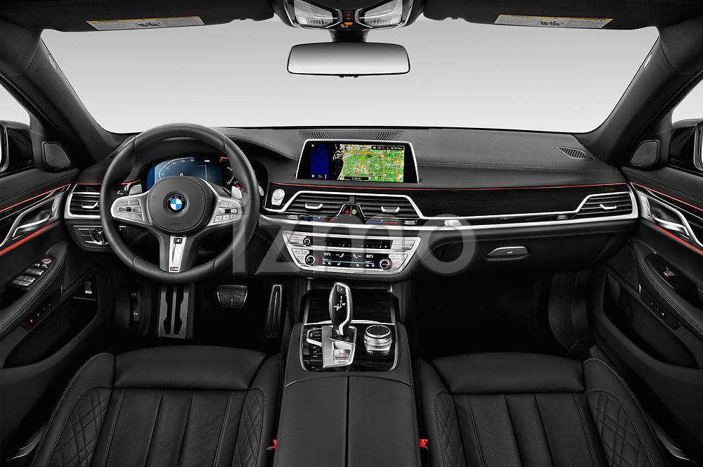 Stock photo of straight dashboard view of a 2020 BMW 7 Series M Sport 4 Door Sedan