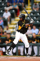 Bradenton Marauders outfielder Junior Sosa (18) at bat during a game against the Charlotte Stone Crabs on April 20, 2015 at McKechnie Field in Bradenton, Florida.  Charlotte defeated Bradenton 6-2.  (Mike Janes/Four Seam Images)