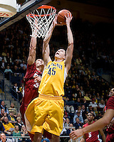 David Kravish of California shoots the ball during the game against Stanford at Haas Pavilion in Berkeley, California on January  29th, 2012.   California defeated Stanford, 69-59.