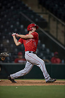 AZL Angels pinch hitter David Clawson (7) follows through on his swing during an Arizona League game against the AZL Athletics at Tempe Diablo Stadium on June 26, 2018 in Tempe, Arizona. The AZL Athletics defeated the AZL Angels 7-1. (Zachary Lucy/Four Seam Images)