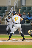 Michael Suchy (13) of the West Virginia Power at bat against the Kannapolis Intimidators at CMC-Northeast Stadium on April 21, 2015 in Kannapolis, North Carolina.  The Intimidators defeated the Power 2-1 in game two of a double-header.  (Brian Westerholt/Four Seam Images)