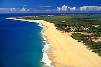 Polihale Beach, Hawaii's longest beach, extends from Polihale State Park, end of the road on west Kauai. Near Barking Sands, Pacific Missile Range Facility (PMRF). Aerial photo.