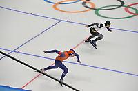 OLYMPIC GAMES: PYEONGCHANG: 19-02-2018, Gangneung Oval, Long Track, 500m Men, Kai Verbij (NED) - Daichi Yamanaka (JAP), ©photo Martin de Jong