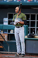 Biloxi Shuckers center fielder Corey Ray (1) stands outside the dugout before a game against the Jacksonville Jumbo Shrimp on June 8, 2018 at Baseball Grounds of Jacksonville in Jacksonville, Florida.  Biloxi defeated Jacksonville 5-3.  (Mike Janes/Four Seam Images)