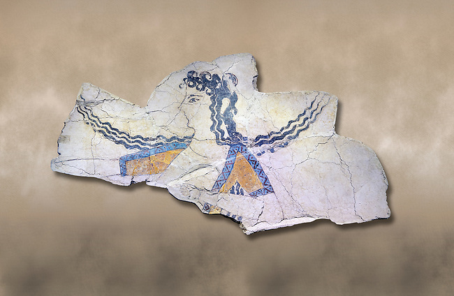 The Minoan 'Dancer' fresco deicting a doddess descending from the heavens, Knossos Palace, 1600-1450 BC . Heraklion Archaeological Museum.<br /> <br /> The Dancer fresco depits a goddess descending from the heavens as indicated by her locks of hair streaming in the wind. This is a familiar convention in Minoan iconogragraphy of a goddess hovering in the air, her right arm extended in a gesture of authority. This fragment is psrt of a larger epiphony scene