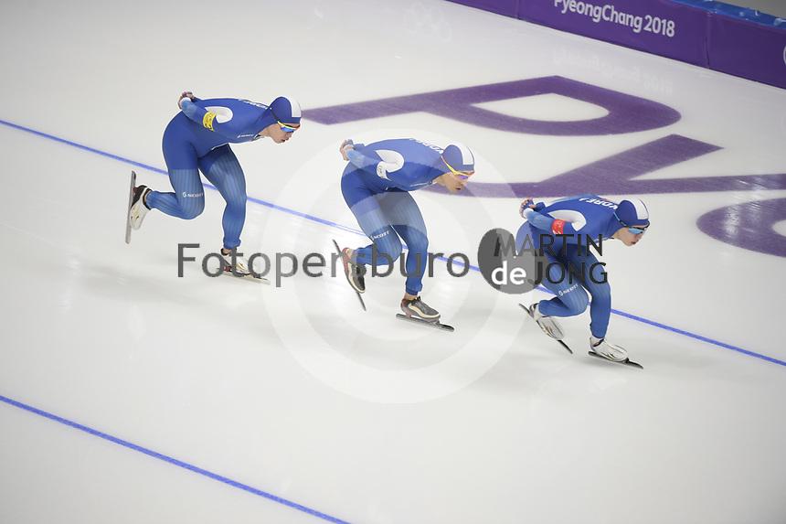 OLYMPIC GAMES: PYEONGCHANG: 21-02-2018, Gangneung Oval, Long Track, Team Pursuit Men, Silver Medalists Team Korea, Kim Min Seok, Chung Jaewon, Lee Seung-Hoon, ©photo Martin de Jong