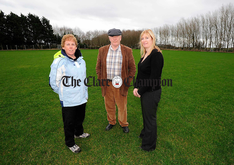 L-R Mary Elliott, Gus Lohan and Carmel Butler on the new Camogie pitch in Shannon.Pic Arthur Ellis.