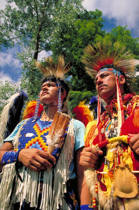 Ottawa dancers at the annual Little Elks Retreat Powwow on the Saginaw Chippewa reservation. Ottawa men. Mt. Pleasant Michigan USA.