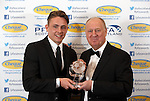 Scott Allan, Hibs gets Championship prize from Billy Brown