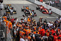 23rd May 2021; Principality of Monaco; F1 Grand Prix of Monaco,   Race Day;  Parc ferme as the 1st 2nd and 3rd placed finishers park their cars