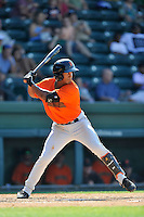 Shortstop Richard Amion (22) of the Augusta GreenJackets bats in a game against the Greenville Drive on Sunday, June 12, 2016, at Fluor Field at the West End in Greenville, South Carolina. Greenville won, 11-8. (Tom Priddy/Four Seam Images)