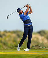 150719 | The 148th Open - Monday Practice<br /> <br /> Ricky Fowler of USA tees off on the 17th during practice for the 148th Open Championship at Royal Portrush Golf Club, County Antrim, Northern Ireland. Photo by John Dickson - DICKSONDIGITAL