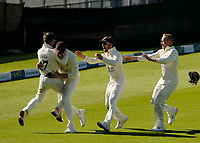 30th May 2021; Emirates Old Trafford, Manchester, Lancashire, England; County Championship Cricket, Lancashire versus Yorkshire, Day 4; Elation for Liam Livingstone, Alex Davies, Josh Bohannon and Matt Parkinson of Lancashire as the last Yorkshire wicket falls for 271 and the Red Rose claims victory by an innings and 79 runs