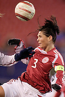 "Denmark's Katrine Pedersen. The US Women's National Team tied the Denmark Women's National Team 1 to 1 during game 8 of the 10 game the ""Fan Celebration Tour"" at Giant's Stadium, East Rutherford, NJ, on Wednesday, November 3, 2004.."