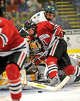19 January 2008: Northeastern University Huskies' forward Randy Guzior (13), a Sophomore from Lemont, IL, is unable to get the puck past University of Vermont Catamounts' goaltender Joe Fallon, at Gutterson Fieldhouse in Burlington, Vermont. The Catamounts defeated the Huskies 5-2 to close out their 2-game weekend series...Mandatory Photo Credit: Ed Wolfstein Photo