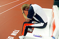 23-9-06,Leiden, Daviscup Netherlands-Tsjech Republic, Dutch captain Tjerk Bogtstra is sad after loosing and degedation