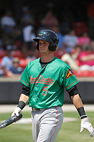 Down East Wood Ducks infielder Josh Altmann (5) at bat during a game against the Carolina Mudcats  on April 27, 2017 at Five County Stadium in Zebulon, North Carolina. Carolina defeated Down East 9-7. (Robert Gurganus/Four Seam Images)