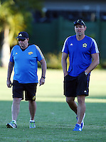 DURBAN, SOUTH AFRICA, 2, May 2016 - Chris Boyd (Hurricanes Head Coach)  with John Plumtree (Hurricanes assistant Coach) during the Hurricanes training session held at Northwood School Durban North, Durban, South Africa. (Photographer Steve Haag / stevehaagsports.com) <br /> <br /> Images for social media must have consent from Steve Haag