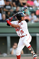 Center fielder Lorenzo Cedrola (5) of the Greenville Drive bats in a game against the Kannapolis Intimidators on Wednesday, July 12, 2017, at Fluor Field at the West End in Greenville, South Carolina. Greenville won, 12-2. (Tom Priddy/Four Seam Images)
