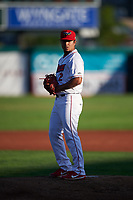 Orem Owlz starting pitcher Emilker Guzman (2) during a Pioneer League game against the Idaho Falls Chukars at The Home of the OWLZ on August 13, 2019 in Orem, Utah. Orem defeated Idaho Falls 3-1. (Zachary Lucy/Four Seam Images)